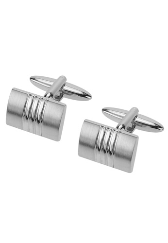 CUFF IT silver Curved Brush Silver Cufflinks F29E2AC4D4F4CBGS_1