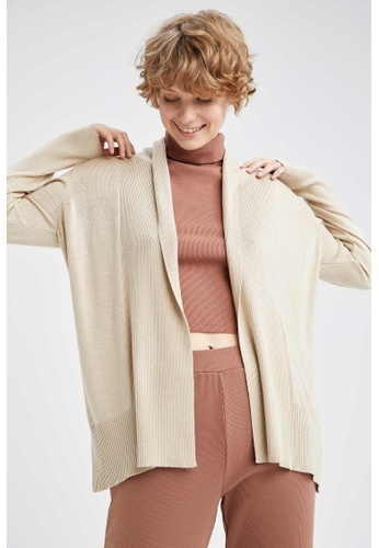 DeFacto brown Long Sleeve Tricot Cardigan 50AB4AABE93B9DGS_1
