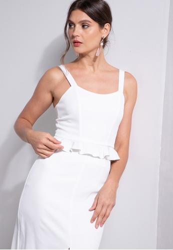 ZALORA OCCASION white Jacquard Corset Peplum Top 04086AA838A664GS_1