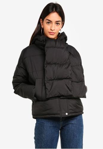 Vero Moda black Scarf Short Puffer Jacket F8BCEAA444B443GS_1
