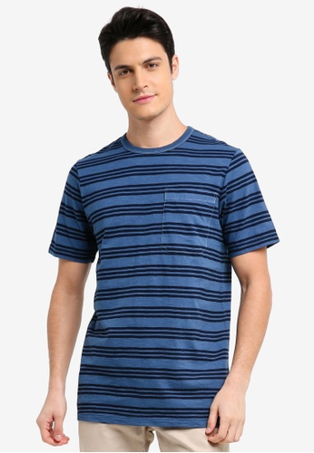 French Connection blue Garment Dye Triple Stripe Tee CA086AA312EE5AGS_1