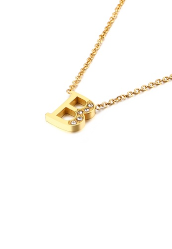 Glamorousky white Fashion Personality Plated Gold English Alphabet B 316L Stainless Steel Pendant with Cubic Zirconia and Necklace 13AFFAC14F50EBGS_1