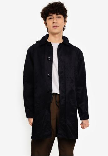 Banana Republic black Waxed Cotton Hooded Mac Jacket 45435AAAC27748GS_1