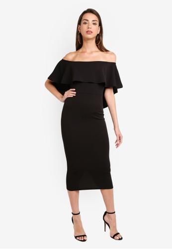 dfc3b14049f High Low Frill Bardot Midi Dress