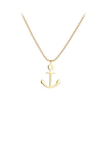 Glamorousky silver Simple and Fashion Plated Gold Anchor 316L Stainless Steel Pendant with Necklace 3722FACEA7DEF4GS_1