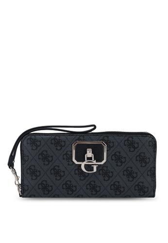 Guess black Alisa Sling Large Zip Around Wallet 44FBAAC66AC5E1GS_1