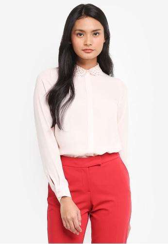 Dorothy Perkins pink Pink Lace Collar Shirt B47C6AAAB48536GS_1