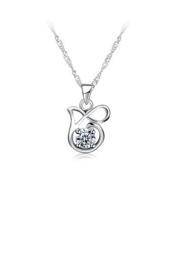 Glamorousky white 925 Sterling Silver Elegant Fashion Hollow Out Ribbon Knot Pendant Necklace with Cubic Zircon 03D9EAC7A874C4GS_1