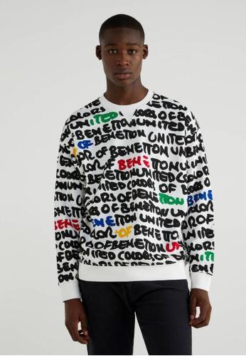 United Colors of Benetton white Printed Sweatshirt F250DAA1646D0FGS_1