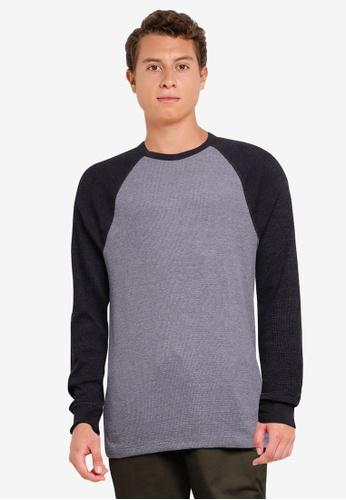 GAP grey Colourblock Waffle Raglan Sweater E37E9AA3E8C0ADGS_1