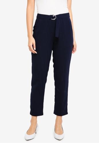 ZALORA BASICS navy D-Ring Belted Trousers F8B63AA2739706GS_1