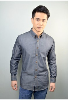 Dark Wash Long Sleeves Denim Button-down Shirt