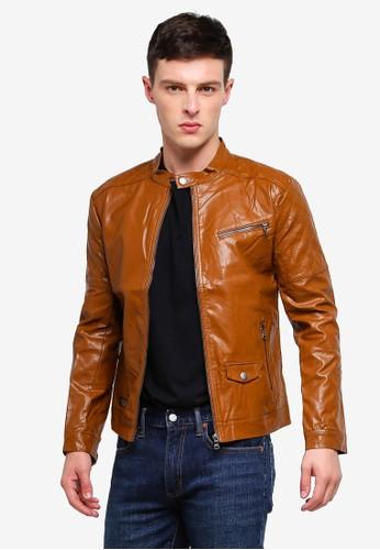 High Cultured brown Biker Jacket 73 699C3AA1BAAEF9GS_1