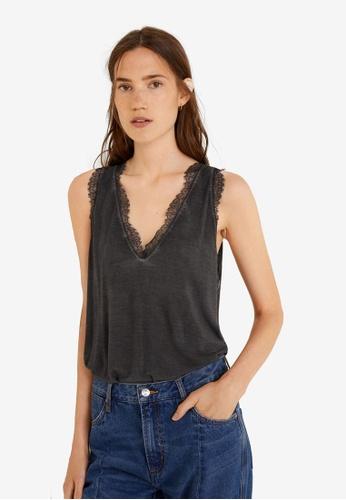Mango grey Lace Strap Sleeveless Top 462DEAAF5C592CGS_1