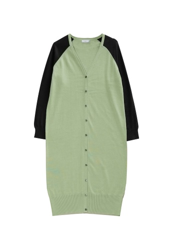 KLAPS green Two-tone Long Cardigan 46CD7AAC8F106CGS_1