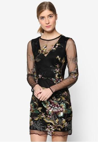 透膚長袖刺繡圖案連身裙, esprit taiwan服飾, 洋裝