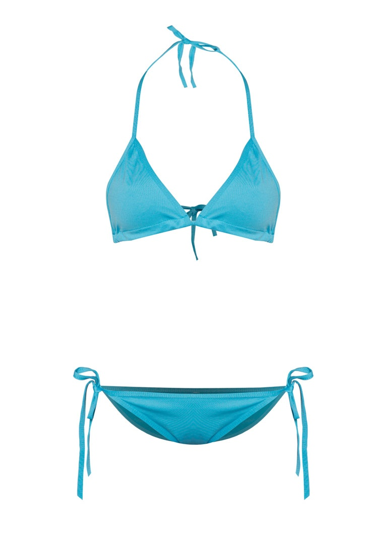 Bikini N' PROPER Triangle Basic Blue Set PINK nIz0qx8x