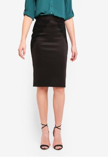 Dorothy Perkins black Black Lace Scuba Pencil Skirt EE1C2AADA7FFC5GS_1