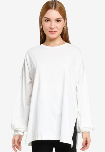 LOWRYS FARM white Oversized Slit Sweatshirt 2EB88AA7E0FF6FGS_1