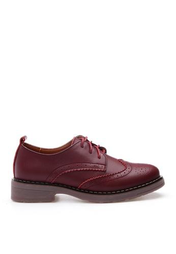 Twenty Eight Shoes 紅色 牛皮拷花綁帶鞋 VL337 12FA1SHB60938FGS_1