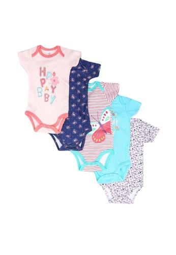 Milliot & Co. pink Acadia Girls Newborn Bodysuit 5-Pack 9BBBDKA0BD7EB0GS_1