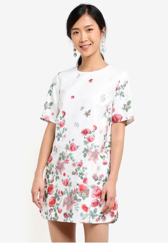 ZALORA white and multi Placement Print Shift Dress 09142AAC22A74CGS_1