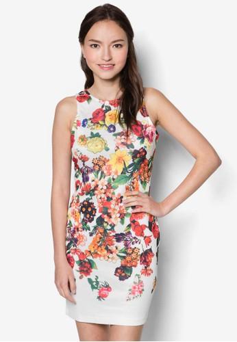 彩色花卉無袖洋裝, 服zalora 心得飾, 洋裝