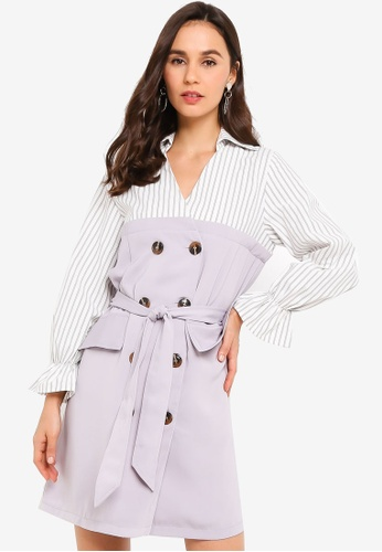 ZALORA grey and multi Bell Sleeves Double Breasted Dress CCF89AA7B01844GS_1