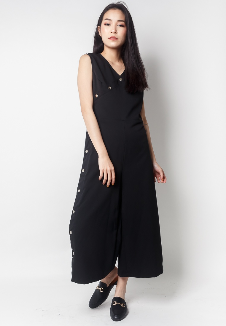 Edition 2nd Black Button ZOEY Jumpsuit Midi Side rr7dFwRq