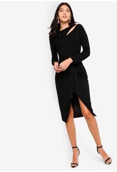 2d8d77f1991 Lavish Alice black Asymmetric Cut Out Detail Wrap Skirt Midi Dress  F18AAAA9CEB5F4GS_1