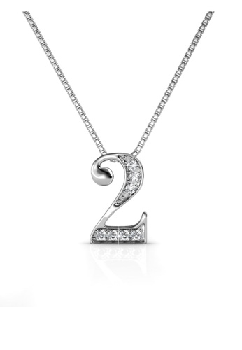 Her Jewellery white Her Jewellery Number Pendant (No.2) with Necklace Chain with 18K Gold Plated HE210AC58ZQRSG_1