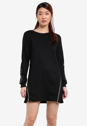 Something Borrowed black ZIPPER DETAIL SWEATER DRESS D3672ZZE97EA2BGS_1