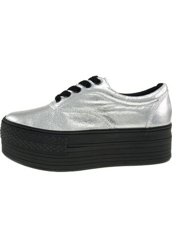 Maxstar 銀色 新款韩国鞋C50-5H-TC時尚皮革布混合女銀色 US Women Size MA345SH01GTETW_1