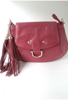Raspberry Punch Waxy Leather Tassel Sling Bag