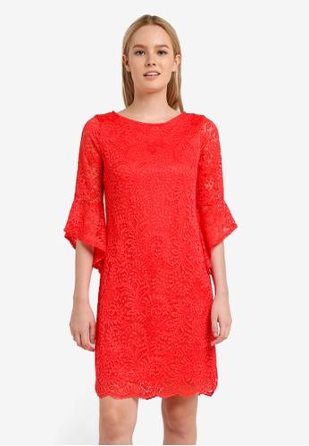 Wallis orange Coral Sleeve Detail Lace Dress WA800AA0RJE2MY_1