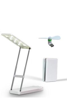 N-Power NP070 8000 mAh Portable Powerbank with Foldable Mini LED Lamp with FREE USB Mini Fan