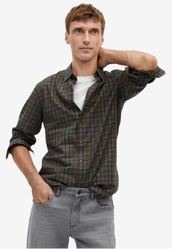 Mango Man green Slim Fit Checked Cotton Shirt 42E6CAAC8A365FGS_1