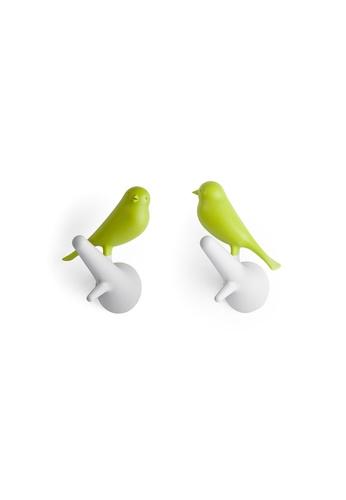 Qualy Qualy Hook Sparrow Set (White/Green) 8A260HL45C314CGS_1