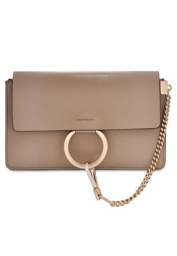 Chloé beige Chloe Small Faye Shoulder Bag in Motty Grey 3DC58AC1399B2FGS_1