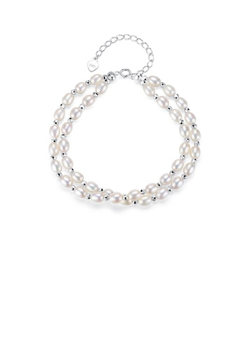Glamorousky white 925 Sterling Silver Fashion Elegant White Freshwater Pearl Beaded Double Bracelet E0CC6ACF330046GS_1
