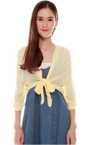 JOVET yellow Tie Front Cardigan 5F72CAA45E9001GS_1