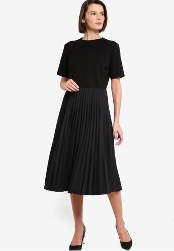 ck Calvin Klein black CLEAN FACE INTERLOCK PLEATED POPLIN DRESS 73B91AA36F676FGS_1