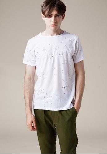 Life8 white Splash Paint Printed Crew Neck Tee-03875-White LI283AA0FFMESG_1