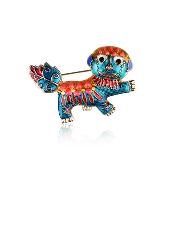 Glamorousky silver Fashion Creative Plated Gold Enamel Chinese Style Lion Brooch 77F55ACD6396FFGS_1