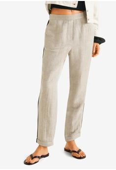 671eb27cd55d Mango beige Contrast Trim Linen Trousers 675D4AA15E4CFCGS_1