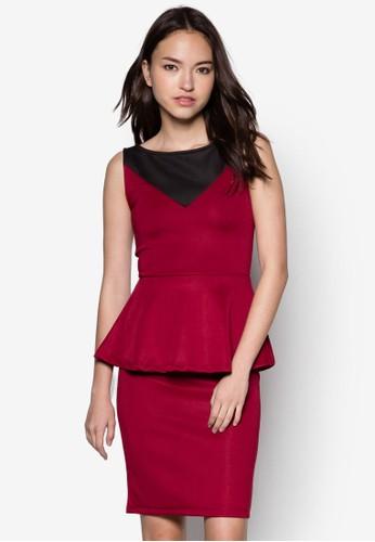 Leah 撞色荷葉esprit童裝門市腰飾連身裙, 服飾, 服飾