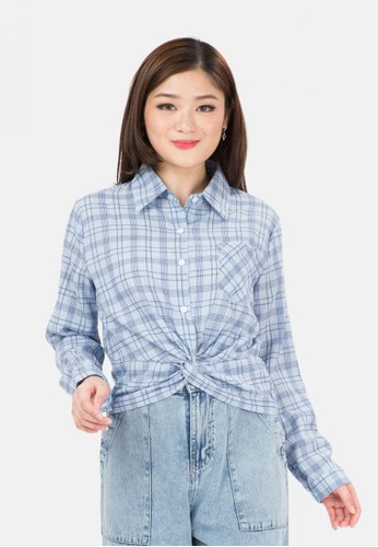MKY Clothing blue Drapped Crop Plaid Shirt in Blue B7256AA9187EE0GS_1
