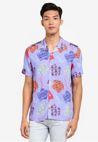 Topman purple and multi Hawaiian Short Sleeve Shirt 63118AA52B99E6GS_1