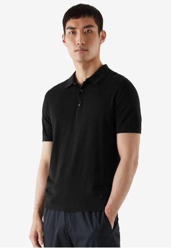 COS black Silk Polo Shirt 8CC75AAAD21673GS_1