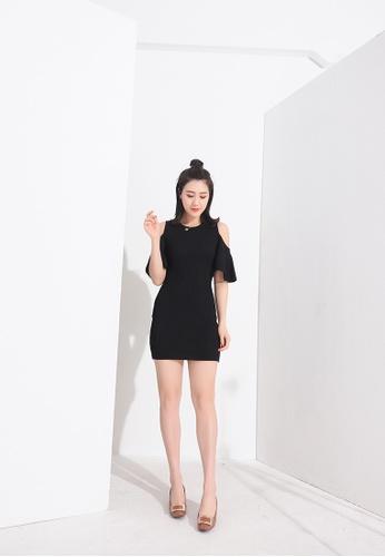 Zafiti black Bare Shoulder Round Neckline Slim Fit Knitting Dress A721BAA8898DFFGS_1